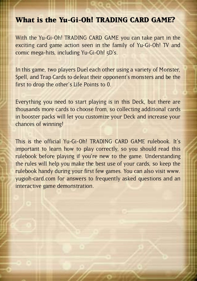 how to play yugioh card game instructions