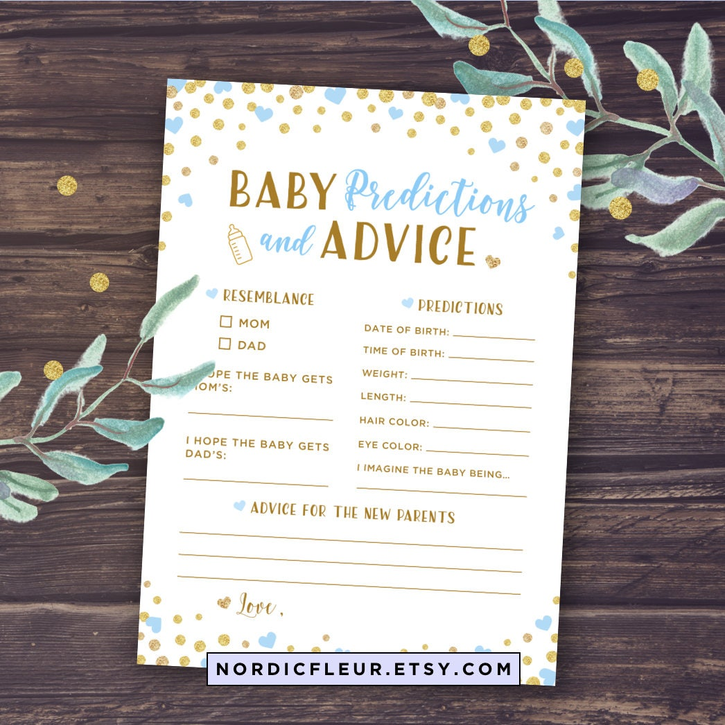 baby shower prediction instructions