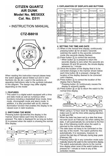 citizen calibre 2100 instruction manual