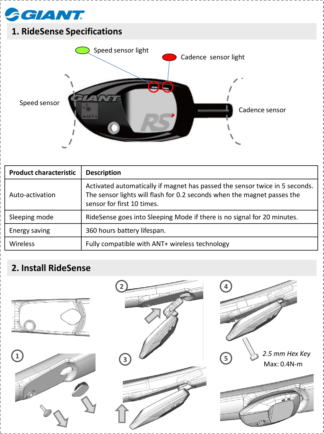 giant ant+ ridesense sensor fitting instructions