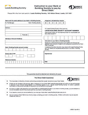 direct debit instruction codes