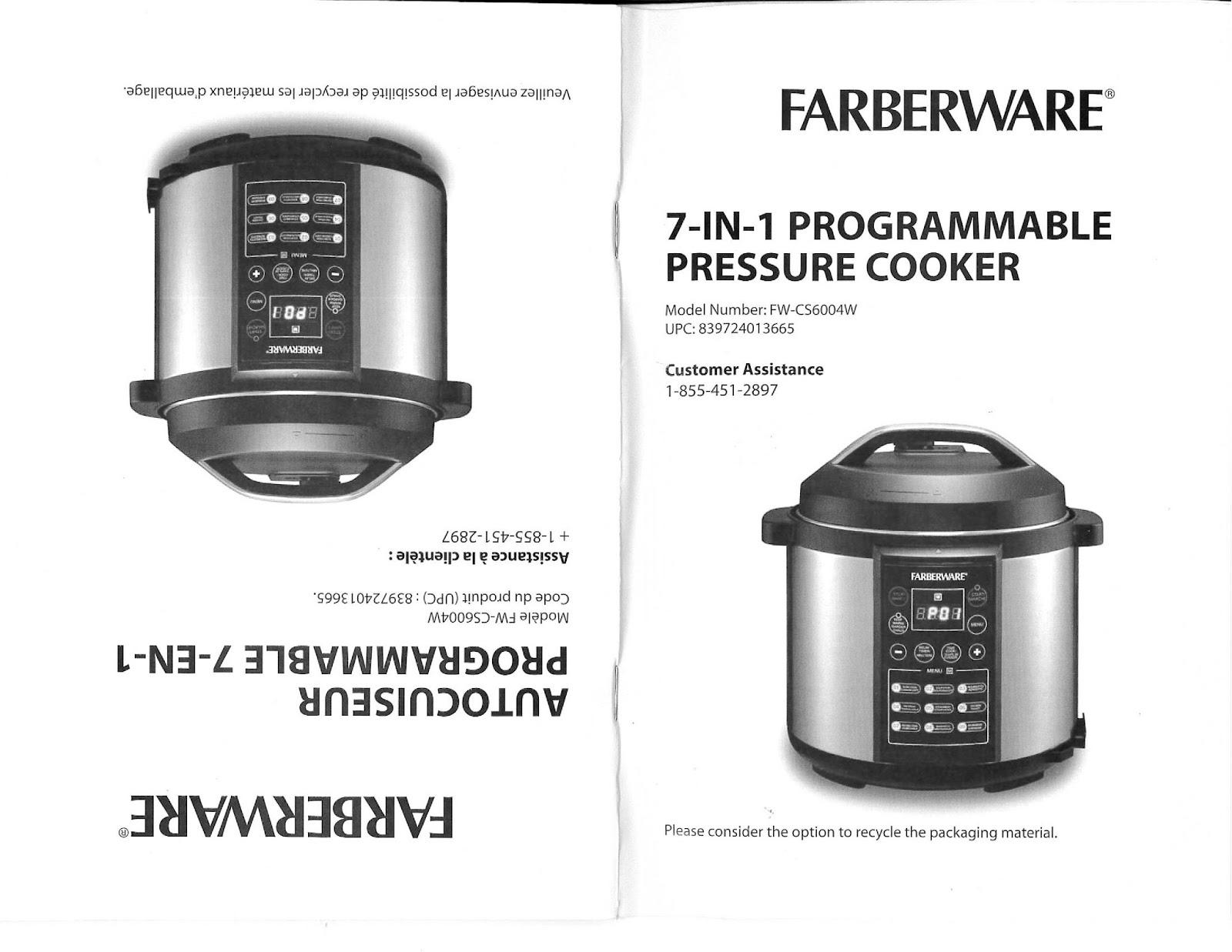 mega chef pressure cooker instructions
